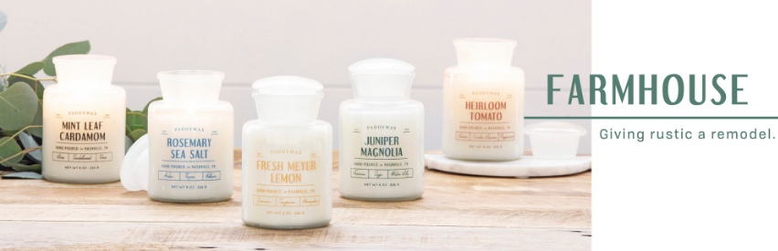 Paddywax Farmhouse Soy Candle Collection | Bravahomedecor.com