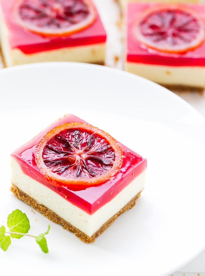 Blood Orange Cheesecake Squares