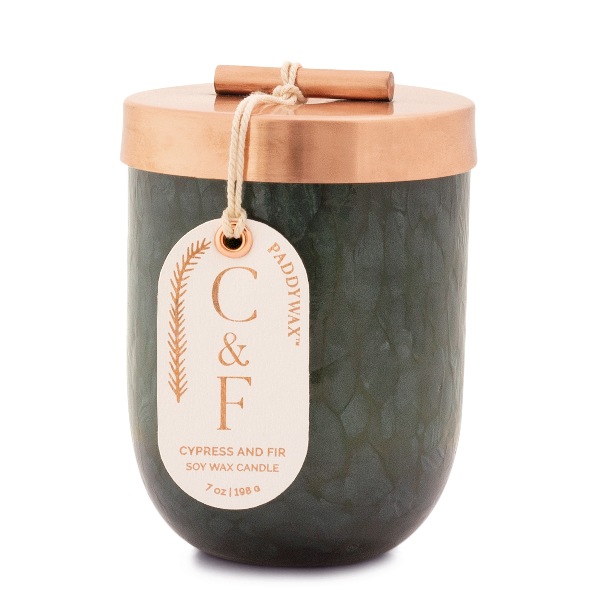 Cypress & Fir - Paddywax Green Cheena Glass Soy Candle - 7oz