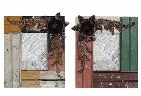 Wood Picture Frame with Metal Flower Embellishments - Sale/Final Cut