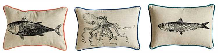 Cotton Pillow with Sea Life Image