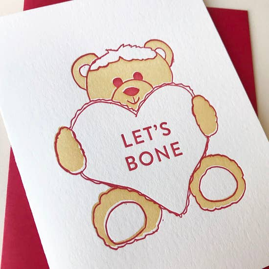 Let's Bone Bear with Heart - Greeting Card