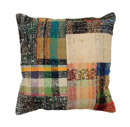 Vintage Cotton Kilim Patchwork Pillow - 22 inch Square - Sale/Final Cut