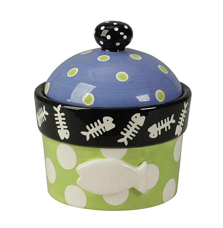 Dolomite Hand-Painted Cat Jar and Lid with Embossed Fish - Sale/Final Cut