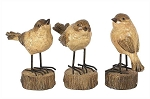 Rustic Carved Wood-Look Resin Birds on Stump Bases
