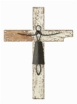 Distressed White Wood and Metal Wall Cross - Sale/Closeout