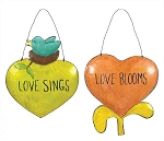 Tin Heart Wall Decor Sign with Wire Hanger - Sale / Closeout