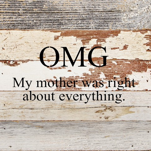 OMG My Mother Was Right About Everything - Reclaimed Wood Wall Art
