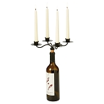 Wrought Iron Taper Candle Wine Bottle Holder