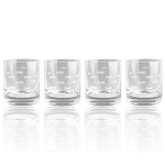 Etched Fish - Old Fashion Drinking Glasses - Set of 4