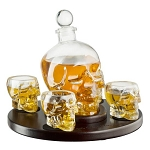 Skull - Glass Whiskey/Wine Decanter Set