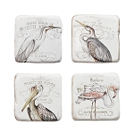 Set of 4 Waterside Bird Coasters & Wood Holder