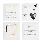 Metallic Heart Decal Square Ceramic Plate