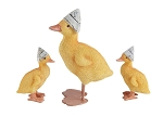Resin Ducks with Newspaper Hats -  Set of 3