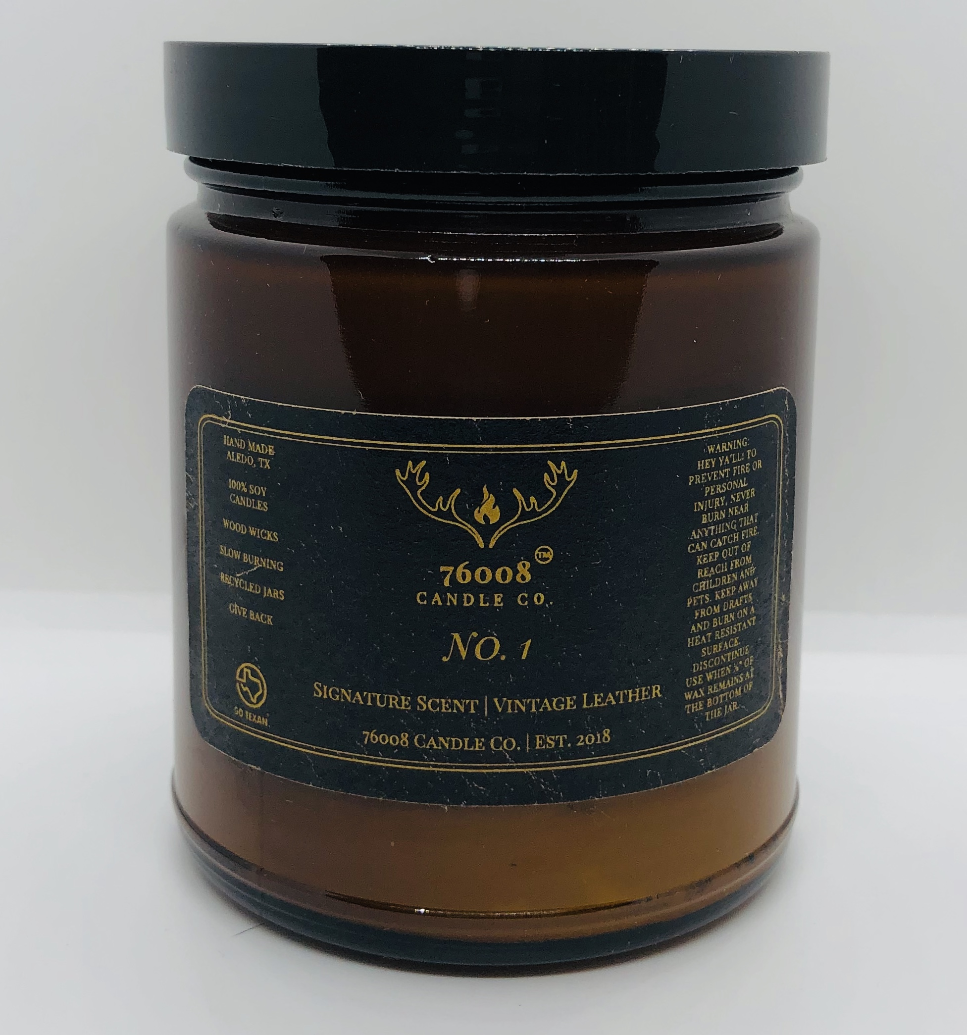 Vintage Leather No. 1 - 76008 Candle Co. - Soy Candle - 8 oz