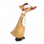 DCUK - Small Holiday Rudolph Painted Wooden Duckling
