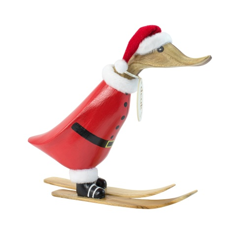 DCUK - Small Holiday Skiing Santa Painted Wooden Duckling