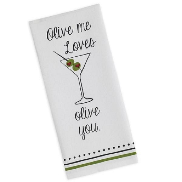 """Olive Me Loves Olive You"" - Printed Dish Towel"
