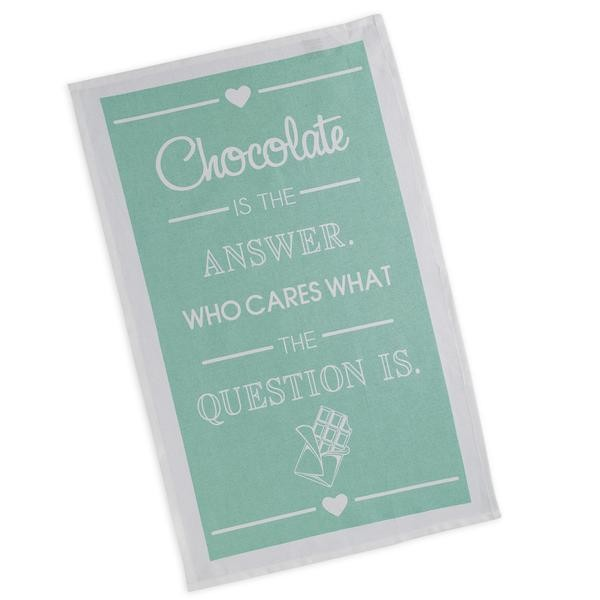 """Chocolate Is The Answer"" - Printed Dish Towel"