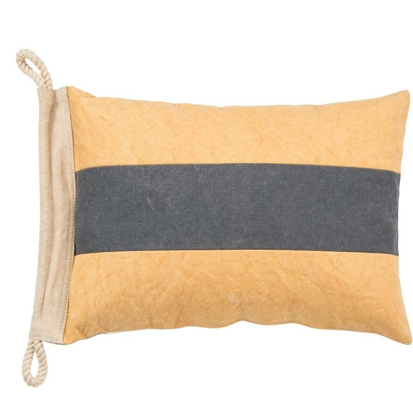Nautical Pillow - Yellow with Blue Stripe