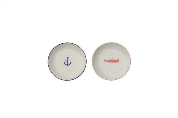 Stoneware Anchor & Whale Dish