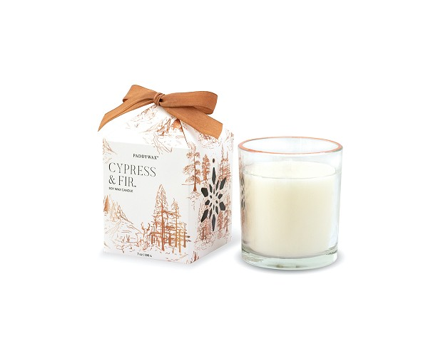 Cypress & Fir - Paddywax Boxed Copper Rimmed Glass Soy Candle - 7oz