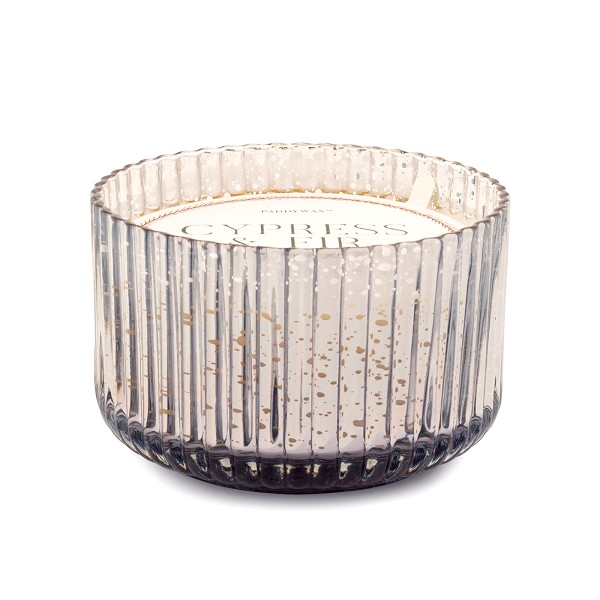 Cypress & Fir - Paddywax Silver Wide Ribbed Mercury Glass Soy Candle - 15oz