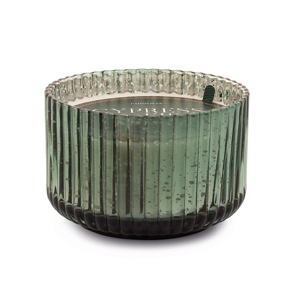 Cypress & Fir - Paddywax Green Wide Ribbed Mercury Glass Soy Candle - 15oz