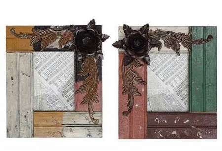 Wood Picture Frame with Metal Flower Embelishments