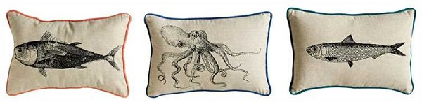 Sea Life Pillows with Octopus and Small & Large Fish
