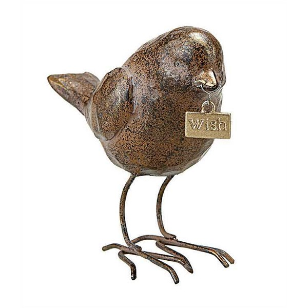 "Brown Resin Bird with ""Wish"" Tag"
