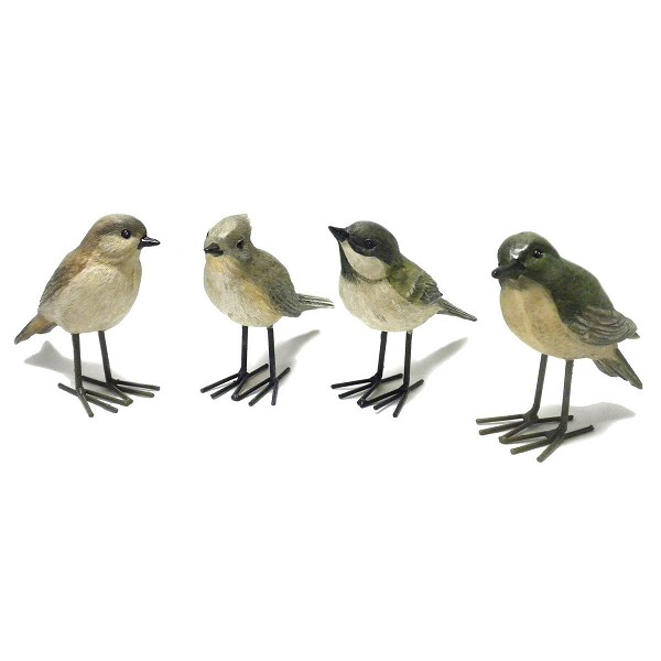 Resin Song Bird Figurines with Wire Legs