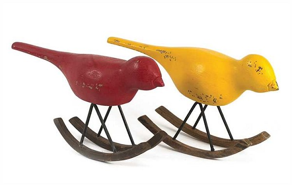 Hand Carved Hand Painted Mango Wood Rocking Birds, 2 Colors