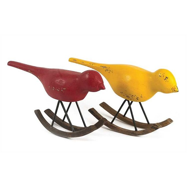 Hand Carved - Hand Painted - Mango Wood - Rocking Birds, 2 Colors