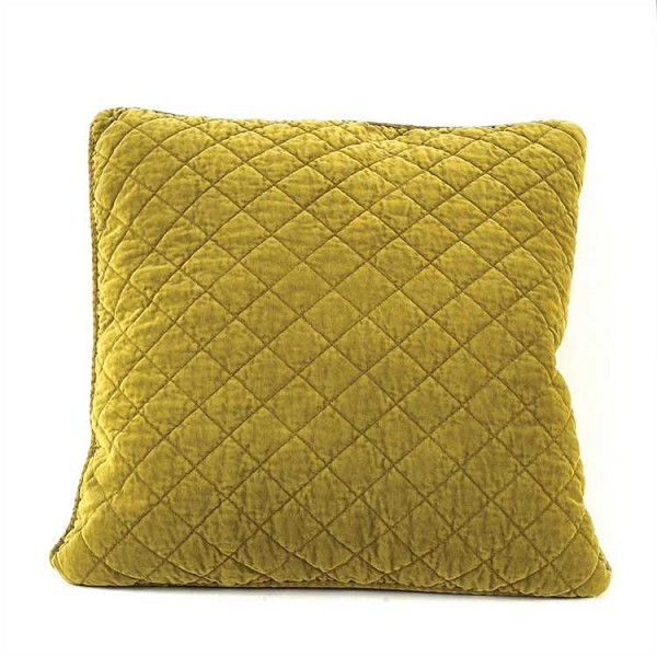 Chartreuse Square Quilted Cotton Pillow, 17 inch Square- Sale/Closeout