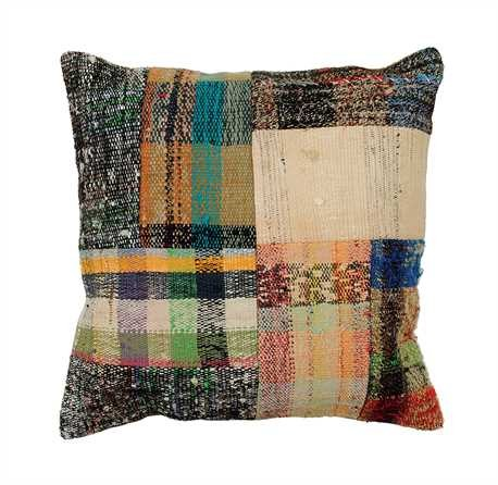 Vintage Cotton Kilim Patchwork Pillow, 22 inch Square