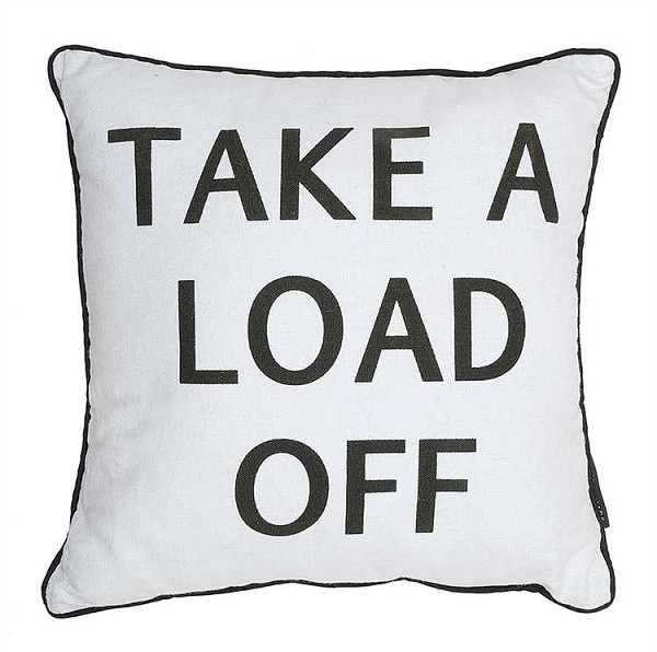 "Linen ""Take A Load Off"" Pillow, 17.75 inch Square"
