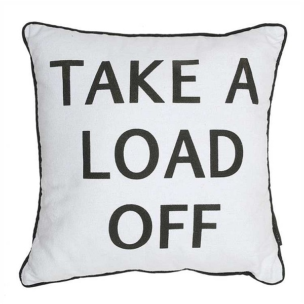 "Linen ""Take A Load Off"" Pillow - 17.75 inch Square - Sale/Closeout"