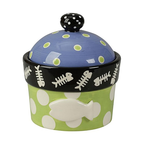 Dolomite Hand-Painted Cat Jar and Lid with Embossed Fish - Sale/Closeout