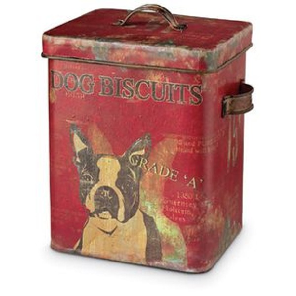 Boston Terrier - Tin Dog Biscuit Container - 9 Inch