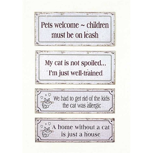 Metal Wall Decor Sign with Cat Quotes