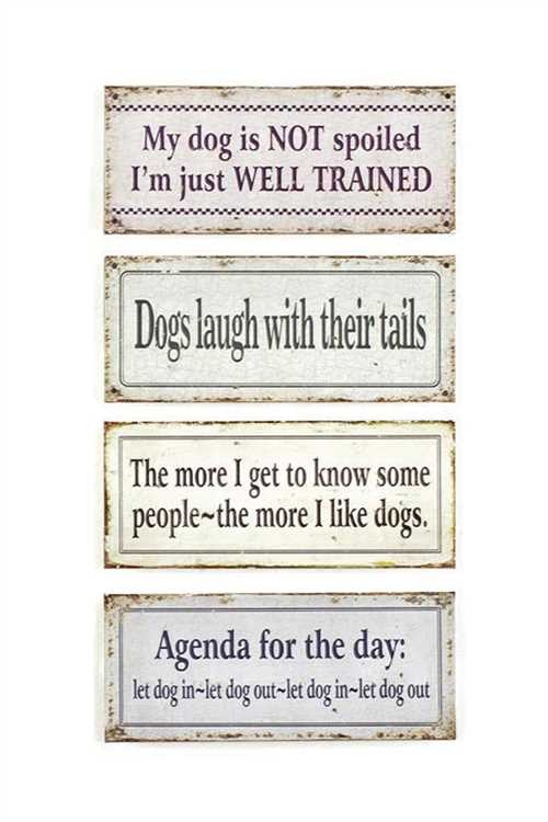 Metal Wall Decor Sign with Dog Quotes