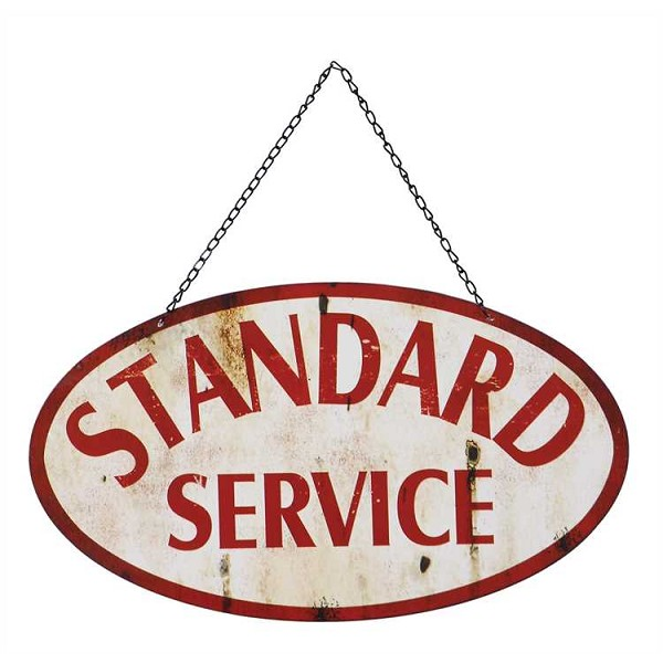 "Metal 2-Sided - ""Standard Service"" Wall Decor Sign -Sale / Closeout"