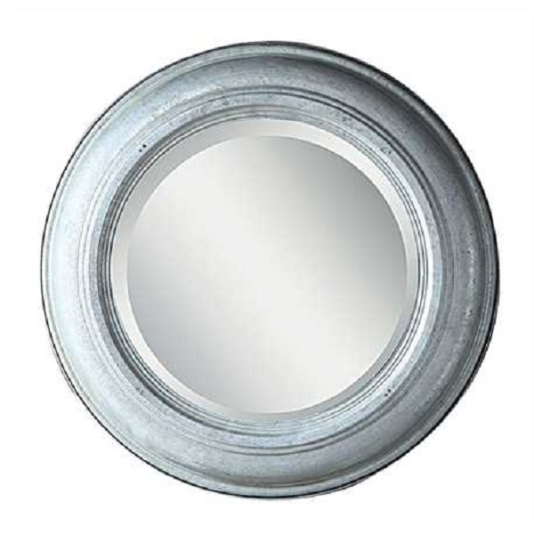 Round Galvanized Tin and Glass Mirror with Beveled Glass - Small