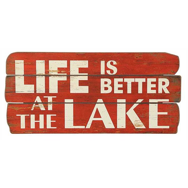 """Life Is Better By The Lake""  Wall Decor Sign - Red"