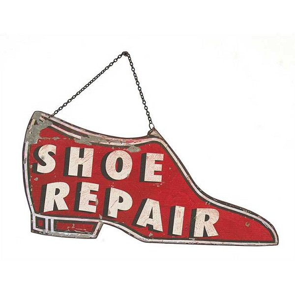 Tin Shoe Repair Wall Sign - 15 by 10.5 Inch - Sale/Closeout
