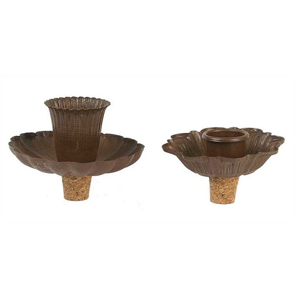 Metal Flower Candle Taper Holders & Bottle Stoppers - Rust