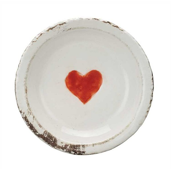 Round Decorative Terra Cotta Plate  with Heart