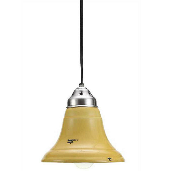 Yellow Ceramic & Nickel 2-Tone Hanging Pendant Lamp - Sale / Closeout